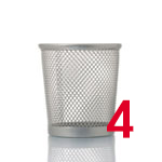 Empty mesh trash bin isolated on white