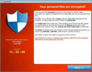 CryptoLocker payment program screencap.